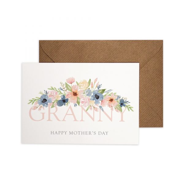 Granny Happy Mother's Day Card with watercolour florals.