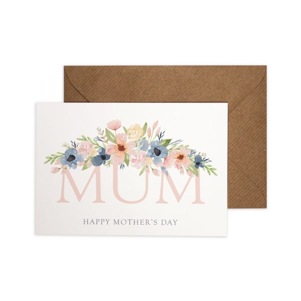 Mum Happy Mother's Day card with watercolour florals.