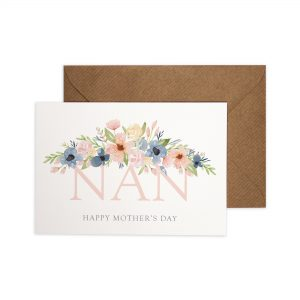 Nan Happy Mother's Day Card with pretty watercolour florals.