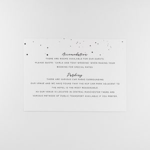 DARBY Wedding Information Card with monochrome ink splatter design