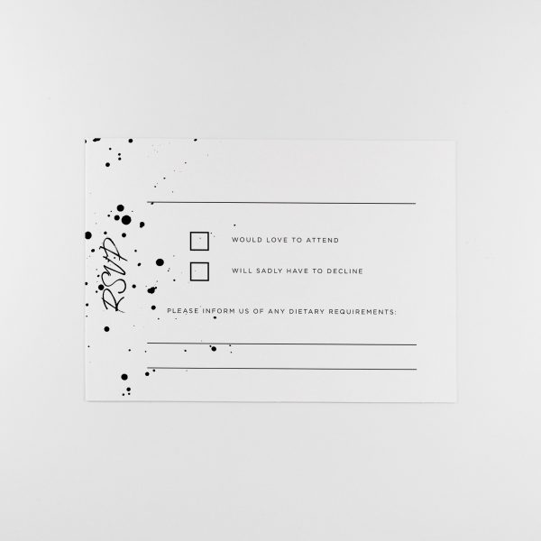 DARBY Wedding RSVP Card with Monochrome ink splatter design