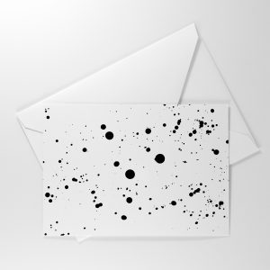 DARBY Wedding RSVP Card Reverse with Monochrome ink splatter design