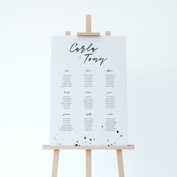 Darby Table Plan with monochrome ink splatter design