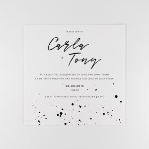 DARBY Wedding Invitation with monochrome ink splatter design