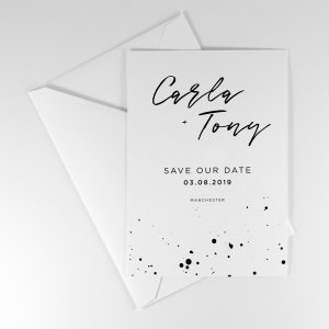 DARBY Save the Date with monochrome ink splatter design