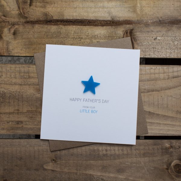 Happy Fathers Day from your Little Boy happy fathers day from your little boy Magnetised Keepsake Card