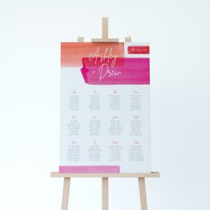 Lola Table plan, bold water colour stripes