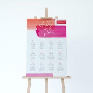 Lola Table plan, bold water colour stripes