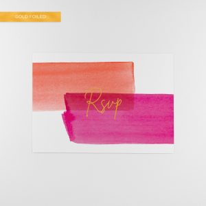lola rsvp card, bold colours with gold foil
