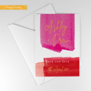 lola save the date, bold colours with gold foil
