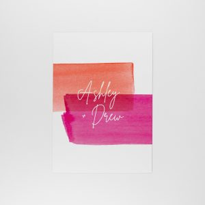 lola save the date reverse, bold colours with gold foil