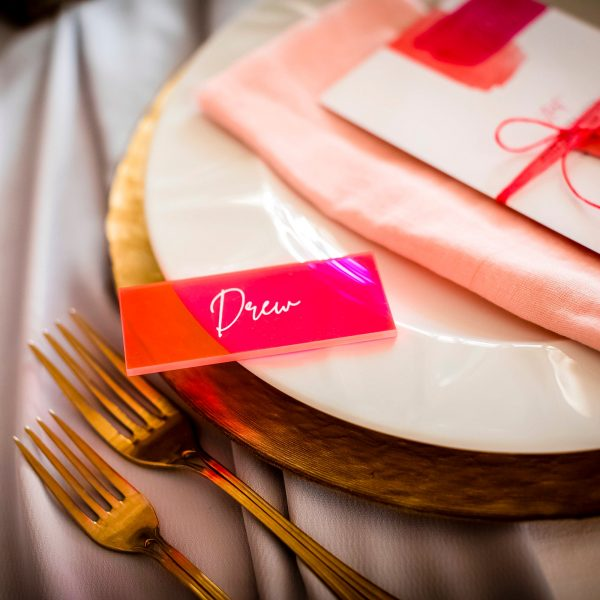 Fluorescent Pink Acrylic wedding place setting - wedding favour
