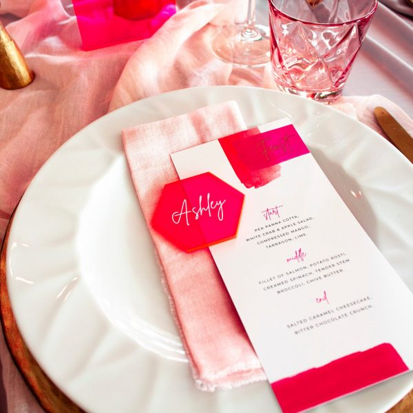 fluorescent pink acrylic wedding place setting - favour