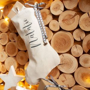 Personalised Linen Christmas Stocking