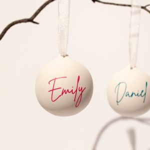 Personalised Teal and Pink Ceramic Christmas Baubles