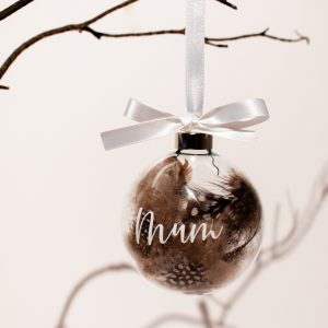 Personalised Feather filled Glass Christmas Memorial Bauble
