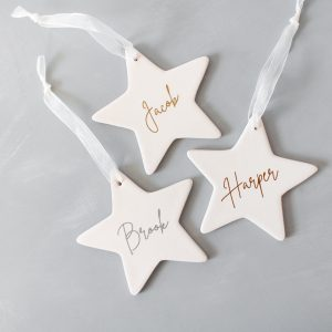 Personalised Ceramic Star Ornament - Metallic