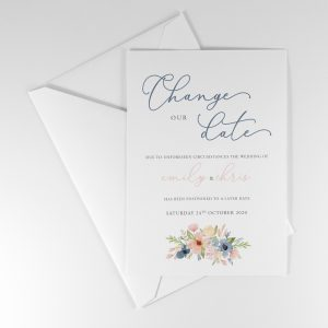 BLEU Postponement Wedding Announcement Card
