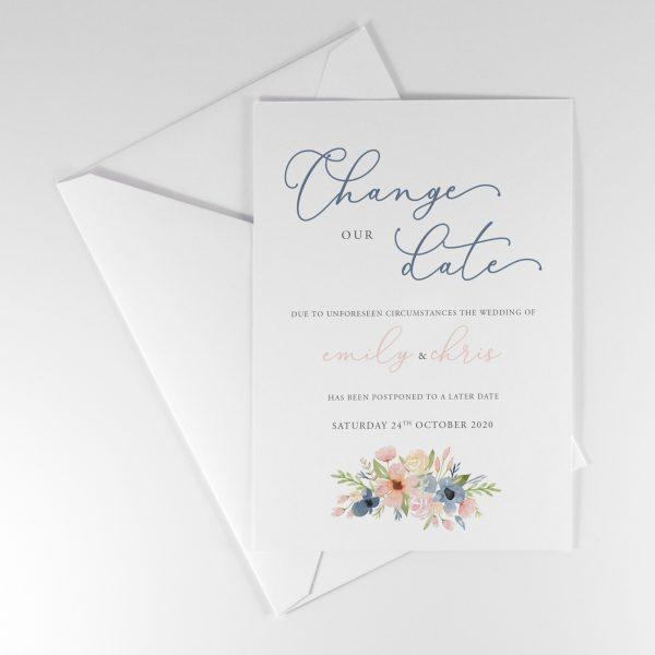 BLEU Postponement Wedding Announcement Card