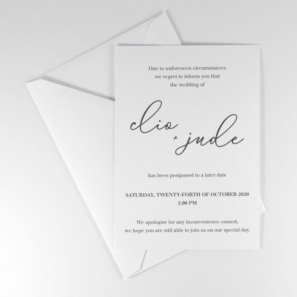 CAMILLE POSTPONEMENT WEDDING ANNOUNCEMENT CARD