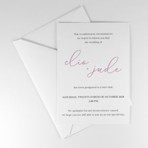 CAMILLE POSTPONEMENT WEDDING ANNOUNCEMENT CARD