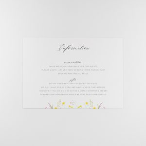 FLORA Wedding Information Card Front